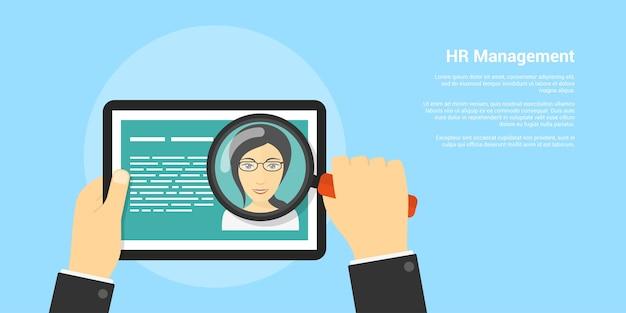 Banner de estilo, recursos humanos e conceito de recrutamento, mão humana com lupa e avatar de mulher