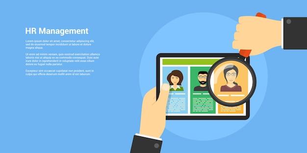 Banner de estilo, recursos humanos e conceito de recrutamento, mão humana com lupa e avatares de pessoas