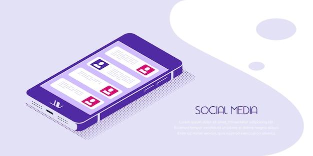 Banner de estilo simples smartphone em vista isométrica com ícones de mídia social