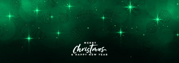 Banner de estrelas de natal mágico merru na cor verde