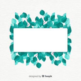 Banner de eucalipto em aquarela com banner em branco