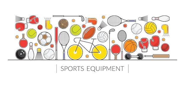 Banner de exibição de equipamentos esportivos, objetos de linha