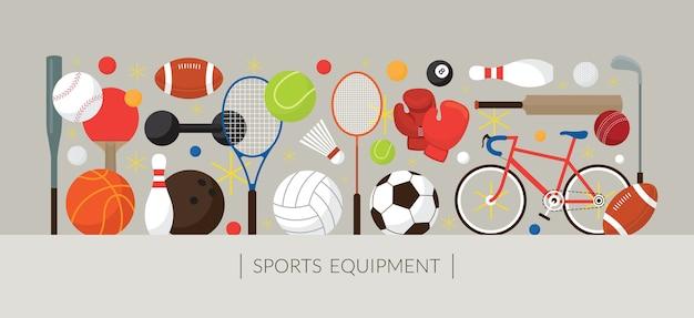 Banner de exibição de equipamentos esportivos, objetos planos