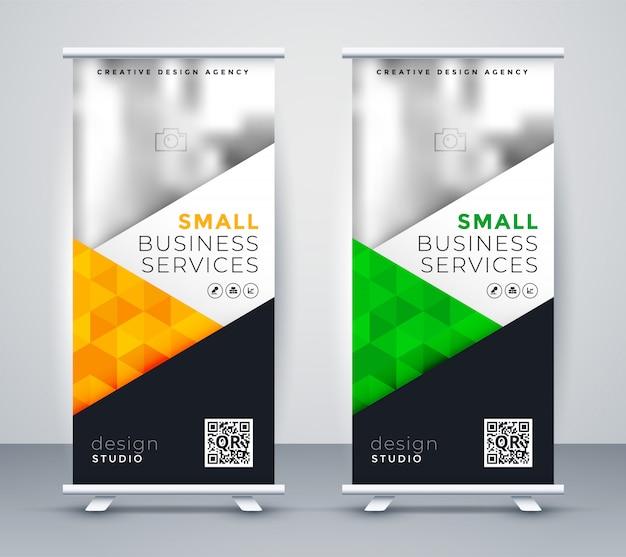Banner de exibição de rollup moderno para marketing