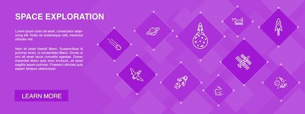 Banner de exploração do espaço 10 ícones concept.rocket, nave espacial, astronauta, ícones simples de planeta