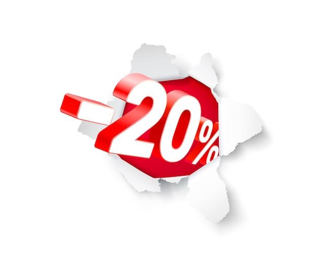 Banner de explosão de papel 20 de desconto com porcentagem de desconto em ações. ilustração vetorial