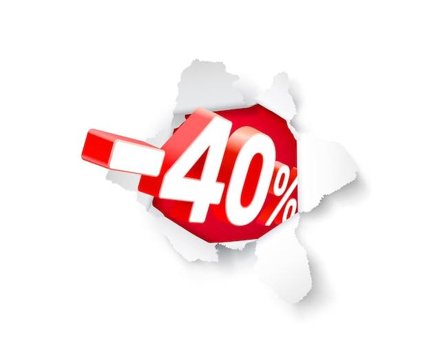 Banner de explosão de papel 40 de desconto com porcentagem de desconto em ações. ilustração vetorial