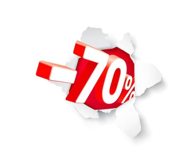 Banner de explosão de papel 70 de desconto com porcentagem de desconto de ações. ilustração vetorial