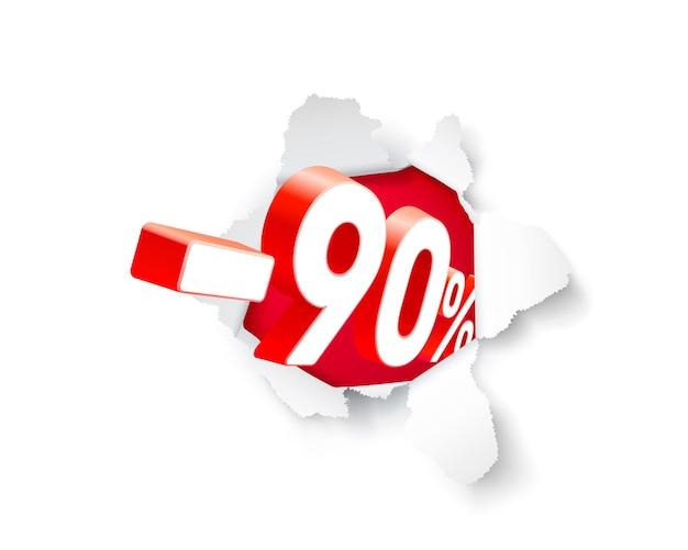 Banner de explosão de papel 90 de desconto com porcentagem de desconto de ações. ilustração vetorial