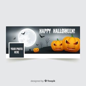 Banner de facebook moderno com conceito de halloween