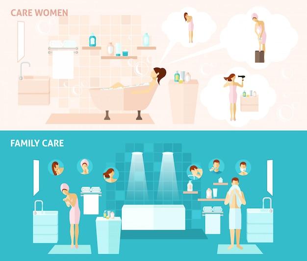 Banner de família e cuidados de mulher