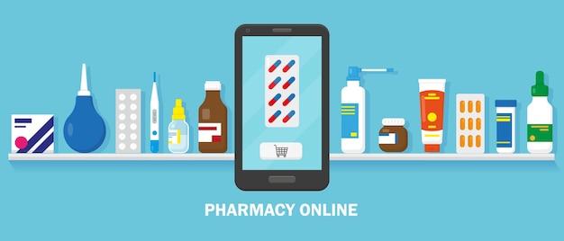Banner de farmácia online com medicação na prateleira e smartphone para compra no azul