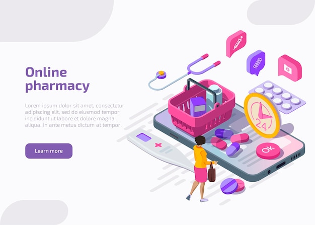 Banner de farmácia online. serviço móvel de drogaria.