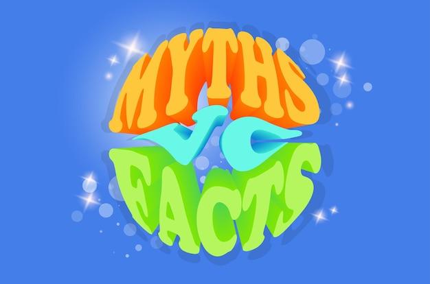Banner de fatos de mitos vc. verificar os fatos em busca de verdades ou mentiras.