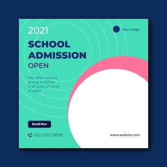 Banner de feed de postagem nas mídias sociais da admissão na escola