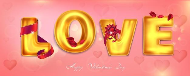 Banner de felicitações com letras douradas em fundo rosa