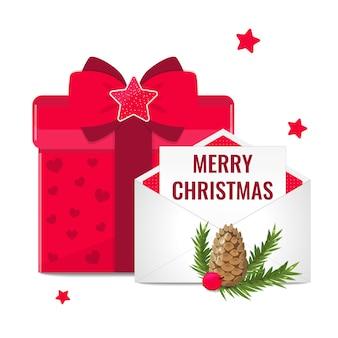 Banner de felicitações de natal com caixa de presente e cartão postal em envelope.