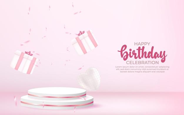 Banner de feliz aniversário 3d com caixa de presente confete e pódio