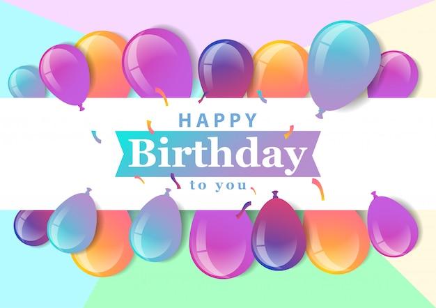 Banner de feliz aniversário com balões, confetes e gradientes.