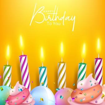 Banner de feliz aniversário com bolo e balões