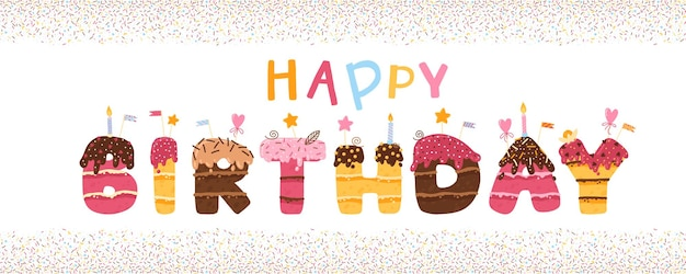 Banner de feliz aniversário com letras em forma de bolo com cobertura