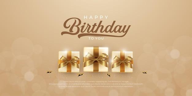 Banner de feliz aniversário com várias caixas de presente