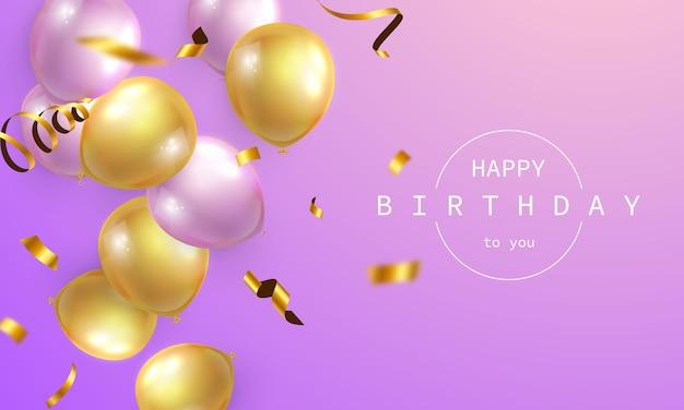 Banner de feliz aniversário fundo colorido de celebração