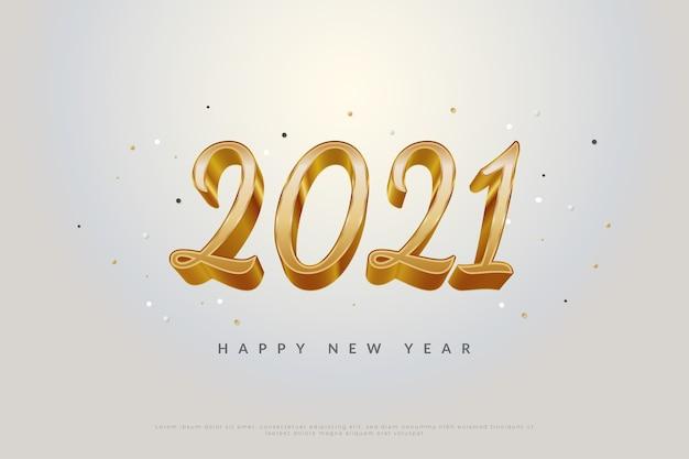Banner de feliz ano novo 2021 com texto de ouro 3d e orbe espalhada sobre fundo branco.