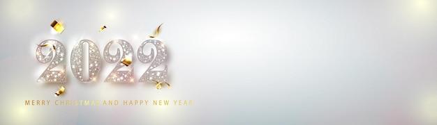 Banner de feliz ano novo 2022. texto de luxo de vetor de prata 2022 feliz ano novo. design de números festivos. banner de feliz ano novo com 2022 números.