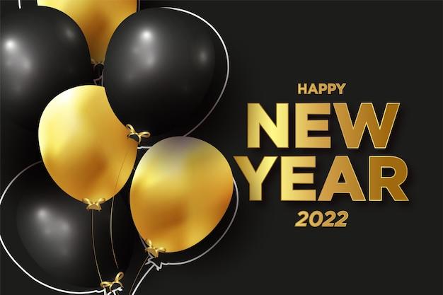 Banner de feliz ano novo com balões 3d realistas e fundo de texto dourado