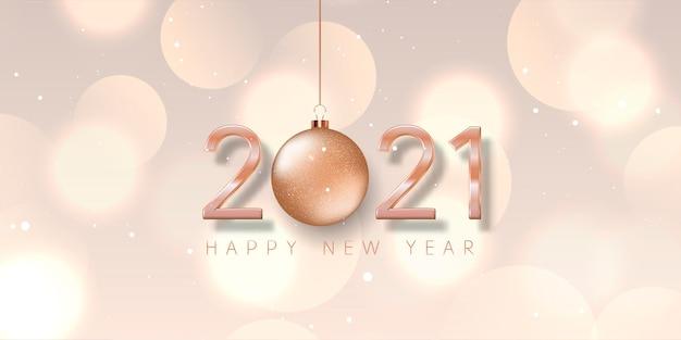 Banner de feliz ano novo com bugiganga em ouro rosa, design de números e luzes bokeh