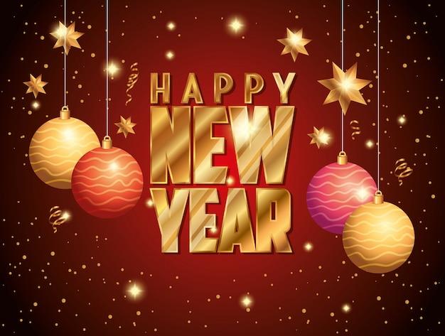 Banner de feliz ano novo com decoração de bolas penduradas