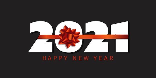 Banner de feliz ano novo com desenho de fita vermelha