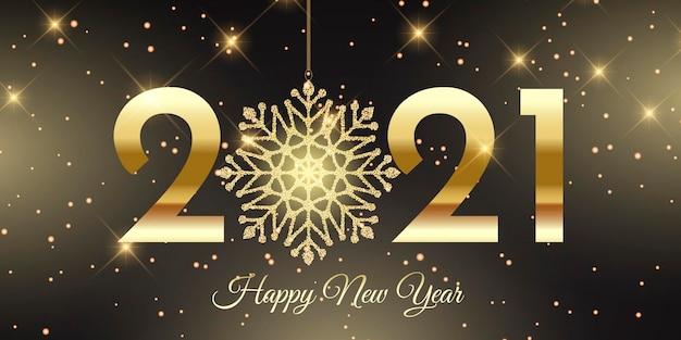 Banner de feliz ano novo com design de floco de neve brilhante