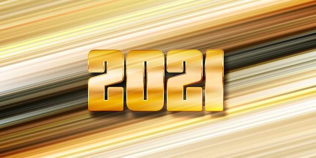 Banner de feliz ano novo com design moderno listrado e números dourados