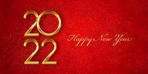 Banner de feliz ano novo com design vermelho e dourado