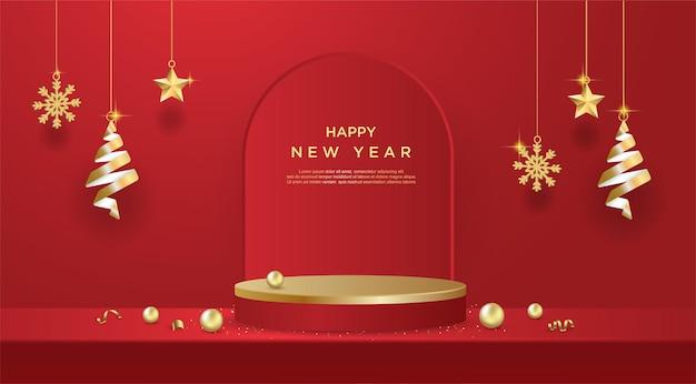 Banner de feliz ano novo com exibição de produto em formato cilíndrico em fundo vermelho