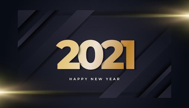 Banner de feliz ano novo com números dourados e luz brilhante em fundo escuro