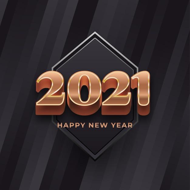Banner de feliz ano novo com números dourados em fundo preto