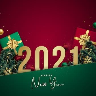Banner de feliz ano novo com números dourados