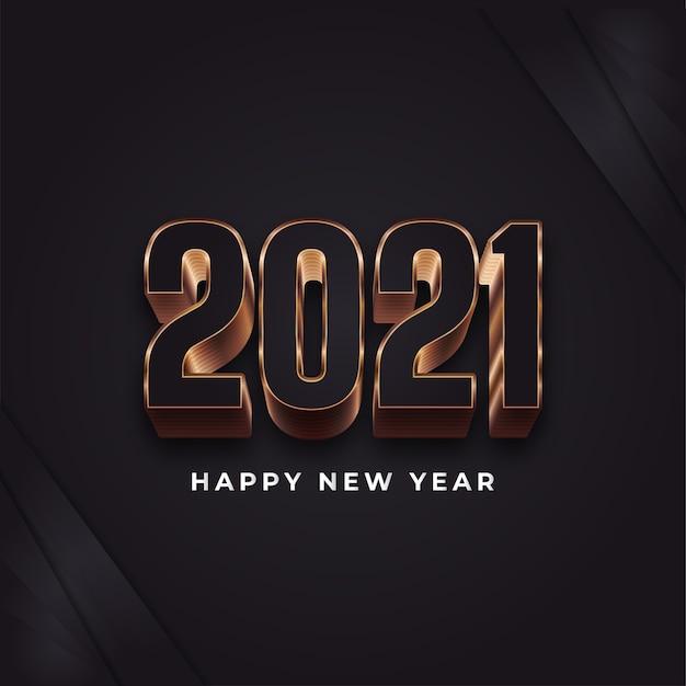 Banner de feliz ano novo com números pretos e dourados em estilo elegante