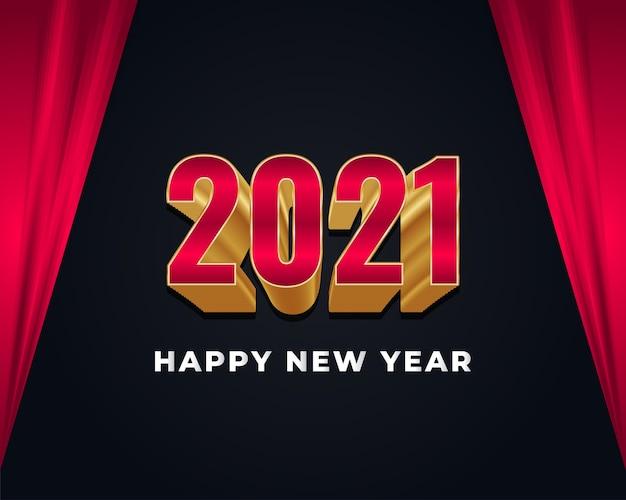 Banner de feliz ano novo com números vermelhos e dourados em fundo escuro