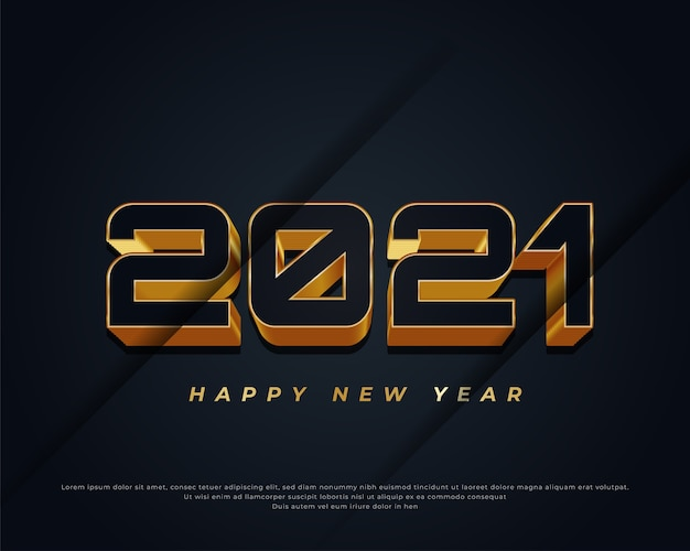 Banner de feliz ano novo com texto em preto e dourado em fundo escuro