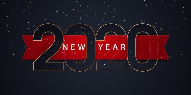 Banner de feliz ano novo de 2020