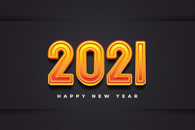 Banner de feliz ano novo de 2021 com números gravados em 3d em papel preto