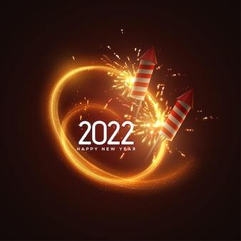 Banner de feliz ano novo de 2022 com foguetes de fogos de artifício cintilantes e rótulo de texto