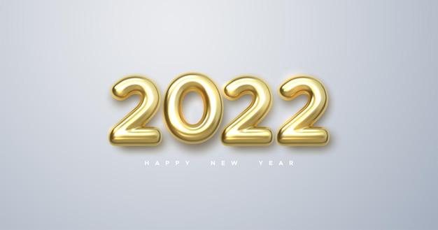 Banner de feliz ano novo de 2022 com números metálicos dourados realistas de 2022