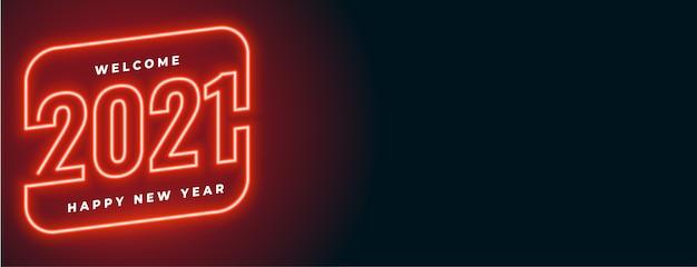 Banner de feliz ano novo em estilo neon vermelho