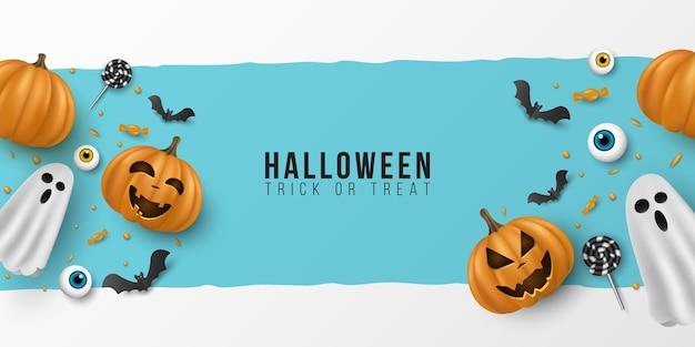 Banner de feliz dia das bruxas. 3d emocional, cartoon, sorrindo abóboras com olhos, doces, pirulitos, morcegos voadores, fantasma sobre fundo azul. capa de convite de festa. vetor