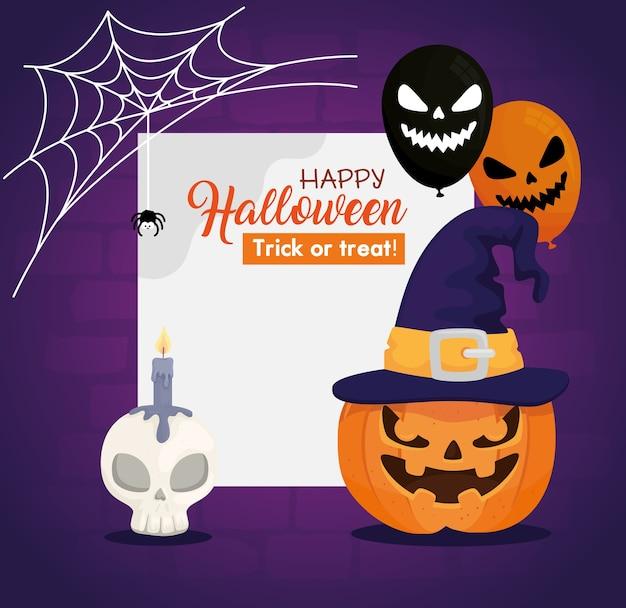 Banner de feliz dia das bruxas com abóboras, caveira, balões assustadores de hélio e teia de aranha